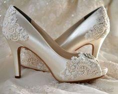 "Wedding Shoes - Custom 120 Color Choices- PB525A Vintage Wedding Lace Peep Toe 3 1/4"" Heels, Women's Bridal Shoes"
