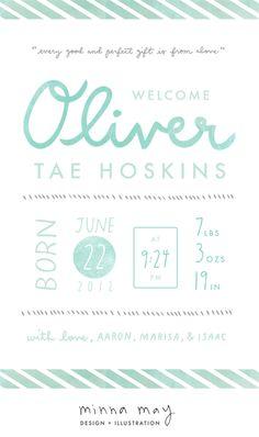 watercolor birth announcement - minna may | design + illustration