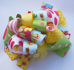 boutique FUNKY fun SUMMER TIME hair bow clip by andjane on Etsy, $12.99