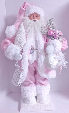 Christmas DIY : Pink Victorian Santa - Ask Christmas - Home of Christmas Inspiration & Deals Pink Christmas Decorations, Santa Decorations, Pink Christmas Tree, Shabby Chic Christmas, Victorian Christmas, Vintage Christmas, Christmas Diy, Christmas Mantles, Silver Christmas