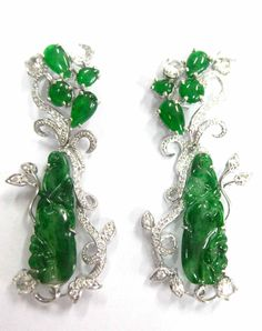 Carved jade with diamonds in white gold. Designed by Lucille Dizon