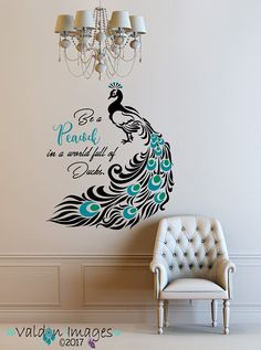 Peacock, Quote Decal, Peacock Feathers, Peacock Decor, Peacock Wall Decal,  Quote Decal, Peacock Wall Art, Inspirational Quote Decal, Birds