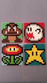Mario Perler Bead Coasters I by AshMoonDesigns