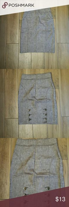 Skirt Linen pencil skirt by Bebe. This skirt is gorgeous on!! Fitted, sophisticated but yet sexy. Has pockets in the front and botton detail on the back. Size 2, skirt hits rigjt above the knee. Skirt transtions well between seasons, Summer and Fall. bebe Skirts