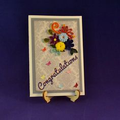 Quilled Birthday Card - - Quilling Card - Congratulation Card - Greeting Card by GiftsPlace on Etsy