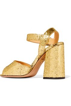 Charlotte Olympia - Emma Glittered Leather Sandals - Gold - IT38.5