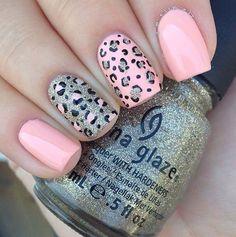 Classy Nail Art, Classy Nail Designs, Trendy Nail Art, Simple Nail Art Designs, Short Nail Designs, Cute Nail Art, Simple Art, Cheetah Nail Designs, Leopard Nail Art