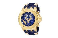 Relógio quartzo de aço e poliuretano Subaqua Azul e dourado