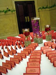 Name cards very colorful I can imagine it in royal blue simply divine