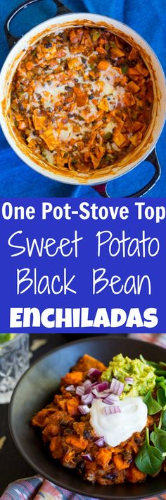 These One Pot Stove Top Sweet Potato & Black Bean Enchiladas are so easy to make and really delicious!  Perfect for an easy vegetarian weeknight dinner!  Gluten free!
