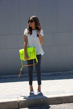 white shirt with polka dot cigarette pants