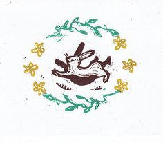 Running Rabbit Hand Printed Greeting Card by craftyhag on Etsy