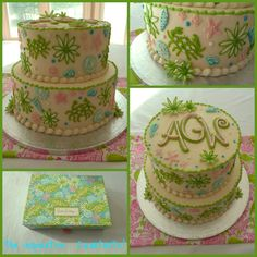 Lilly Pulitzer Crabtastic inspired cake.