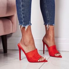 Red mules, high heels, date night look, chic outfit Get more style and outfit in. Stilettos, Pumps Heels, Stiletto Heels, High Heels, Women's Shoes Sandals, Shoe Boots, Sandals Outfit, Heeled Sandals, Shoes Sneakers