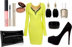 """""""Neon and Black"""" by mbaileydesigns on Polyvore"""