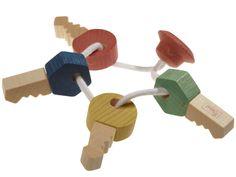 Schneller Versand ✓ 30 Tage Rückgaberecht ✓ Schlüssel finden Babys und Kleinkinder hoch interessant. Mit dem Schlüsselbund aus Holz darf nach Herzenslust gespielt werden. Aus Ahorn- und Buchenholz., Bunte Schlüssel zum Fühlen und Greifen