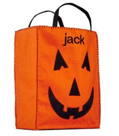 Trick or Treat bag being personalized