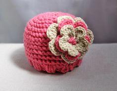 Baby Hat- Newborn Baby Girl Hat Beanie with Flower