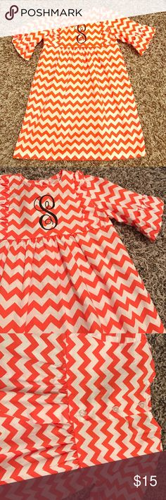 """""""S"""" ruffle dress Wore once! In excellent condition! Super cute """"s"""" monogrammed ruffle dress. Monogrammed in brown thread. Perfect for Fall  100% cotton. Comes from a smoke free home. southern sunshine kids Dresses"""