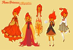 Adventure Time [Flame Princess outfits]by =spicedcoffee Adventure Time Flame Princess, Adventure Time Princesses, Adventure Time Cartoon, Adventure Time Finn, Fanart, Adventure Time Cosplay, Character Art, Character Design, Marceline And Princess Bubblegum
