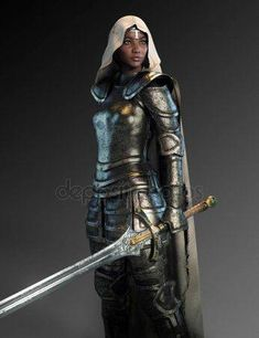 f Fighter Plate Armor Cloak Greatsword urban City undercity female Knight Hooded Cloak med Inspiration Drawing, Fantasy Inspiration, Character Inspiration, Black Characters, Fantasy Characters, Female Characters, Black Girl Art, Black Women Art, Art Women
