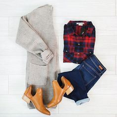 - Outfits for Work Plaid Outfits, Casual Work Outfits, Fall Outfits, Cute Outfits, Preppy Work Outfit, Winter Cardigan Outfit, Cardigan Outfits, Gray Cardigan, All Black Dresses
