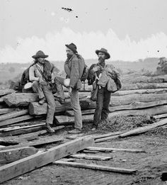 In one of the most famous photographs of the Civil War, three captured Confederate soldiers, likely from Louisiana, pose for Mathew Brady on Seminary Ridge on or about July 15, 1863, following the Battle of Gettysburg. The extraordinary clarity of the image allows viewers to study the soldiers' uniforms and accoutrements, but the historian Shelby Foote has focused more on their body language.