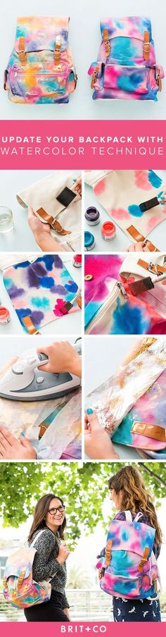 This DIY watercolor backpack tutorial is so perfect for back to school. Time to make your new fave bag!