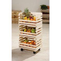 L 37 x H 30 x P 80 cm. Caisse de rangement à fruits sur roulettes… Voir la présentation