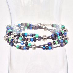 Blue Green Beaded Leather Double Wrap Bracelet, Everyday Wear Stacking Boho Braclet, Seedbeads Silver Beads by EverydayWomenJewelry on Etsy https://www.etsy.com/listing/208918898/blue-green-beaded-leather-double-wrap