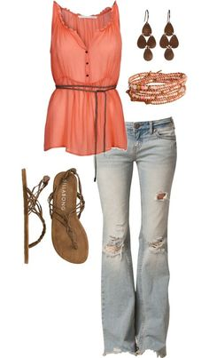 Totally Love this outfit. Cute & casual. I'd wear wedges with it though :)