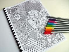 Coloring Book, Zentangle Inspired Printable Fun for Kids, 12 Intricate Coloring Patterns, Zendoodles to Color. $12.00, via Etsy.