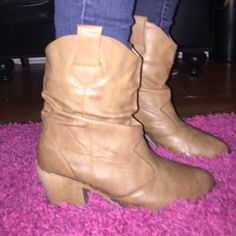 Booties ❤️ cute booties heel not to high so can be worn casually in great condition Shoes Ankle Boots & Booties