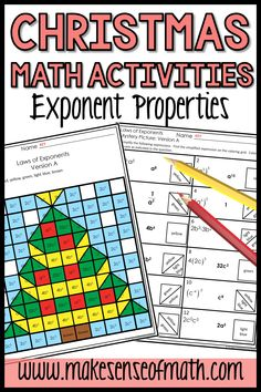 Check out these Christmas math activities for middle school. Your 8th grade math and Algebra students will pratice using the exponents properties and rules as they color this fun Christmas math worksheet. This is great to develop fluency with the laws of exponents and will engage your middle school math students before the holiday break. Check out this product for more information. #makesenseofmath 8th Grade Math, Eighth Grade, Fun Math Activities, Math Resources, Christmas Math Worksheets, Simplifying Expressions, Rational Numbers, Solving Equations, Holiday Break
