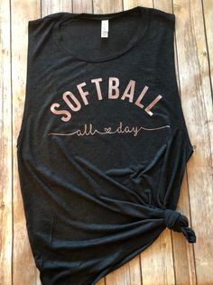 Softball games all day are no problem with this adorable muscle tank! Perfect for softball moms and Softball Bows, Girls Softball, Softball Players, Fastpitch Softball, Softball Cheers, Softball Crafts, Softball Pitching, Softball Shirt Ideas, Softball Sayings