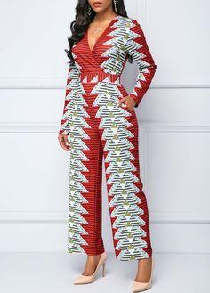 99d55007096 Long Sleeve V Neck Pocket Jumpsuit