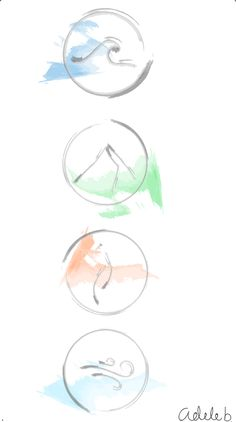Simple 4 elements Done in illustrator, experimenting with water colour brush strokes. Tattoo idea 1.1