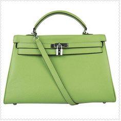 Hermes Kelly Handbag 35CM Green Silver online -... via Polyvore