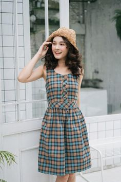 Buy Now Summer Dress Plaid Dress Blue Brown Vintage Style Sundress Swing Dance Dress Checker Dress Henley Dress Tea Party Holiday Casual Look by Amordress. Modest Dresses, Tight Dresses, Pretty Dresses, Cotton Dresses, Short Sleeve Dresses, Casual Dresses, Kurti Neck Designs, Blouse Designs, Swing Dance Dress