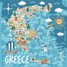 Travel infographic Vector stylized map of Greece. Travel illustration with greek landmarks building plants and traditional food. Travel Map Pins, Travel Maps, New Travel, Travel Posters, Places To Travel, Food Travel, Greece Map, Greece Travel, Poster City