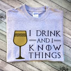 """I Drink and I Know Things Applique Embroidery Design File INSTANT DOWNLOAD for DIY projects, from Designed by Geeks. Use any embroidery machine - Brother, Viking, Janome, Bernina, Pfaff, Singer - to stitch this design.  Inspired by Game of Thrones, this applique design features an embellished wine goblet with the quote """"I drink and I know things"""" done in a GoT style font. The wine goblet and the words are done in separate hoopings."""