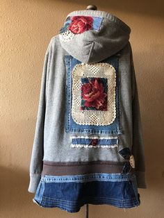Excited to share this item from my shop: Upcycled Boho Gypsy Rose Tapestry. Excited to share this item from my shop: Upcycled Boho Gypsy Rose Tapestry Hoodie Jacket , Distressed Denim Ar Boho Gypsy, Gypsy Rose, Gypsy Style, Hippie Style, Sewing Clothes, Diy Clothes, Stylish Clothes, Clothes Women, Sweatshirt Refashion