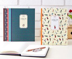 Scandina Pattern School Lined Large Notebook 6 type