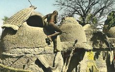 Africa | Granaries from the Garoua region of Cameroon.  ca. 1950 || Scanned postcard.