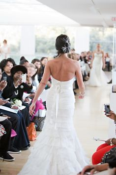 Model walking the runway at Savannah's Behind the Veil event. Photo credit: Katie McGee, Hair: B Street Salon