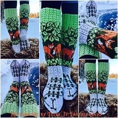 Kettumetsät/ fox in a forest socks by Titta J's Fantasy Socks