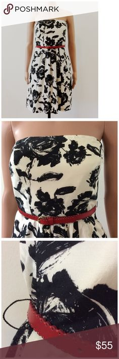 Ann Taylor LOFT Floral Strapless Dress Size 0 New with tags!  Belt is NOT included. I posted a picture so you can see the width of the belt loop. Ann Taylor Dresses Midi