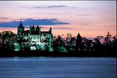 Sunset view of the Boldt Castle, Thousand Islands, Canada