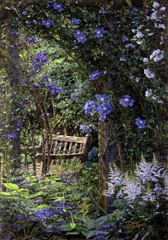 """Hottest Free Secret Garden bench Concepts In Francis Hodgson Burnett wrote a book entitled """"The Secret Garden&rdquo ; Pink Garden, Dream Garden, Violet Garden, Flowers Garden, Shade Garden, Flower Pots, Lavender Garden, Flowers Nature, The Secret Garden"""