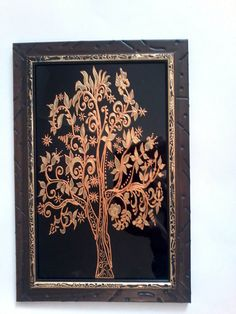 Glass painting A Golden Tree by GlassPaitnigAnna on Etsy